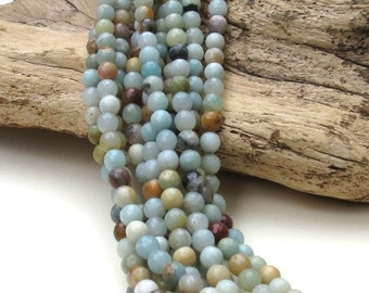 Faceted Amazonite - 6mm Round - 15 inch strand of 63  beads