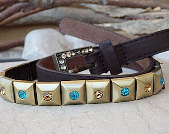 Skinny brown leather belt. Swarovski studded belt. Thin leather and metal belt. Rhinestone Belt. Women's narrow belt. Metal squares belt