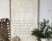 by wisdom a house is built, Proverbs 24:3-4  Extra Large vintage looking sign