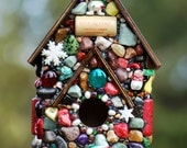 Gingerbread House full of Christmas, snowflakes and Snowmen holiday decor birdhouse mosaic Christmas Centerpiece
