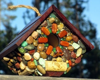 Rustic Mosaic outdoor birdhouse up cycled wine cork colorful birdhouse wren bird watcher mothers day gift front porch decor bird lover