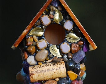 Mosaic birdhouse housewarming gift unique birdhouse Fairy garden Whimsical little birdhouse Wine corks with purples and bronze leafs