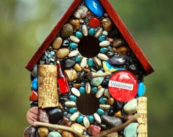 Mosaic Birdhouse Outdoor decor Mosaic Garden Art Eco Friendly gift for nature lover blue birdhouse wine lover welcome home birdy