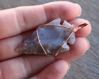Jasper Arrowhead Copper Pendant #6283