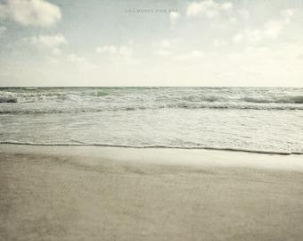 Beach Print or Canvas Wrap, Beach Decor, Ocean Art, Landscape Photography, Mint, Pale Blue Sea Print, Pastel, Beige, Grey, Seascape, Ocean.