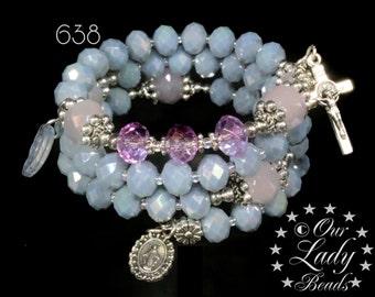 Rosary Bracelet Wrap,Light Blue Crystal AB,Bridal,Mother's Day Gift,Godmother's Gift,Confirmation Gift,Catholic Bracelet,Religious Gift,#638