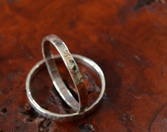 Stacking Rings - Size 8.25 - Dappled Finish - Sterling Silver