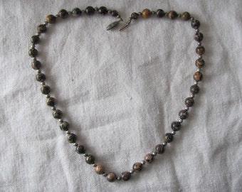"Bamboo Jasper Bead Necklace, 19"" Long, Symbol of  Healing Balance"