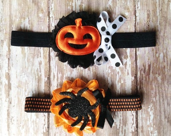 Halloween Headband Set | Black and Orange, Spider and Pumpkin Headband | Newborn-Adult