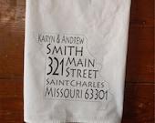Personalized Tea towel address state flour sack