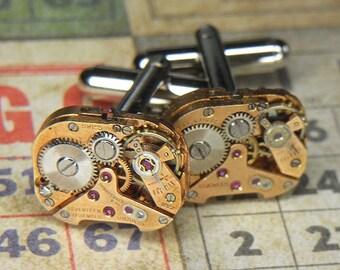 Steampunk Cufflinks Cuff Links - TORCH SOLDERED - Antique Rectangular ROSE Gold Watch Movements - Birthday Wedding Gift - Elegant Pair