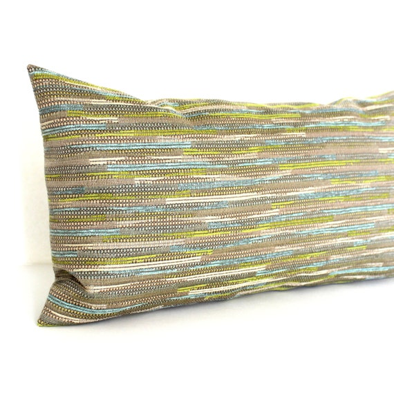 Lumbar Pillow Cover Blue Green Beige Textured by couchdwellers