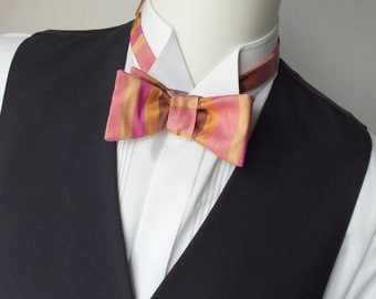 silk bow tie in warm tones, self tie, for men - adjustable, freestyle, ships worldwide from France