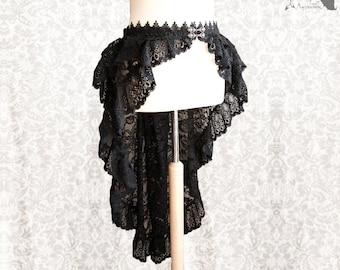 "Black lace skirt, Victorian, goth, steampunk, burlesque, Maeror, Somnia Romantica, plus size belt 47"", see item details for measurements"