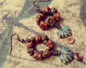 Earrings,  Butterfly, Autumn, Leaf and Flower, Thanks Giving, Orange, Green,Holiday Gift