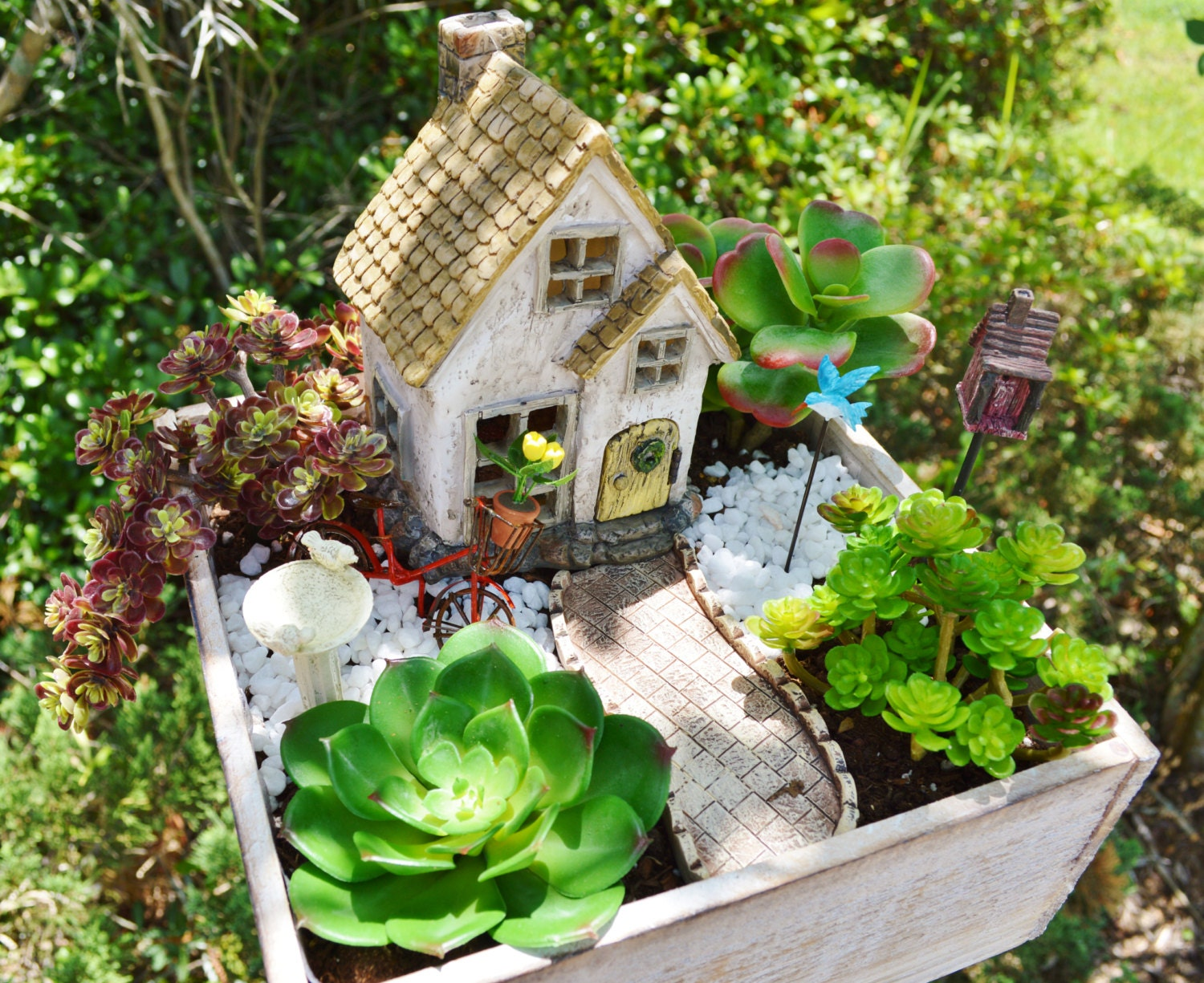 Fairy Garden Cottage Miniature House Kit Wooden Planter