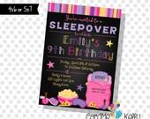 Printable Girls Sleepover Party Nail Polish Pizza Popcorn Sleep Mask Sleeping Bag Invitation- Digital File