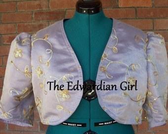 Custom made Edwardian style or modern shrug. Short or long sleeve A-line cut, cotton, silk, velvet. Titanic, Downton Abbey. Made in USA.