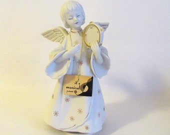Vintage Schmid Bisque Ceramic CHRISTMAS ANGEL Plays Silent Night- Wind-Up Music- Japan