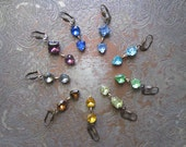 Jewel Tone Vintage Rhinestone Earrings / Rainbow Wedding Jewelry / Candy Hearts