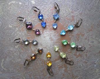 Jewel Tone Vintage Rhinestone Heart Earrings / Rainbow Valentine Jewelry / Candy Hearts