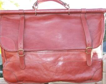 Vtg. Large Leather Portfolio / Luggage Handled Bag / Art Case / Portfolio