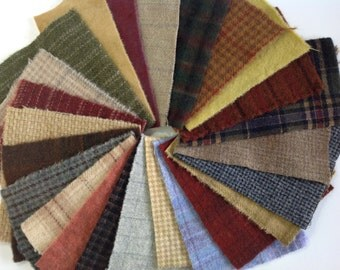 Colorful Wool Scraps, 24 pieces, for Applique and Craft projects, W234, Country Colors, Neutrals, Textures, Plaids