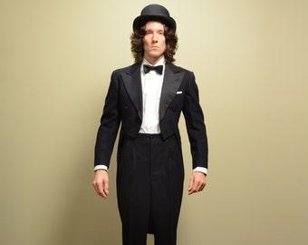 mens vintage tuxedo vintage 40s tailcoat tux Graves Cox 1940 formal menswear top hat tails 37-38 37R 38R medium M
