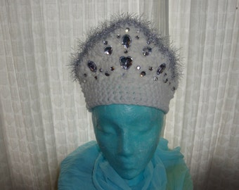 "White Crochet Tall Crown with Metallic Silver Eyelash Trim and Heart ""Jewels"""