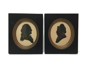 Pair of vintage George and Martha Washington Miniature Silhouettes by Kindel Furniture Company c1943