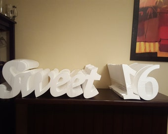 Sweet 16   STYROFOAM    sign    centerpiece backdrop 10 inches tall