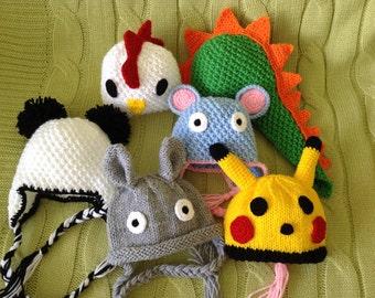 Newborn photo prop, pokemon hat, panda bear hat, newborn hat, knit baby hat, newborn boy, newborn girl, newborn props, chicken baby hat