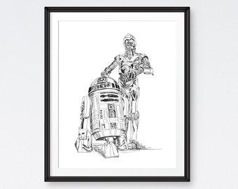 SALE Star Wars Art Printables, C3PO, R2D2, Star Wars Poster, Star Wars Room - Instant Download