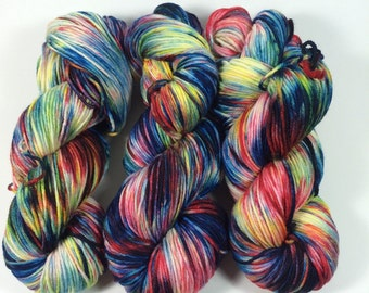 Light Worsted, DK, Superwash Merino, 100 grams, Hand Dyed Yarn, Fireworks, double knitting,