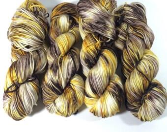 Light Worsted, DK, Superwash Merino, 100 grams, Hand Dyed Yarn, Black Eyed Susan, double knitting,