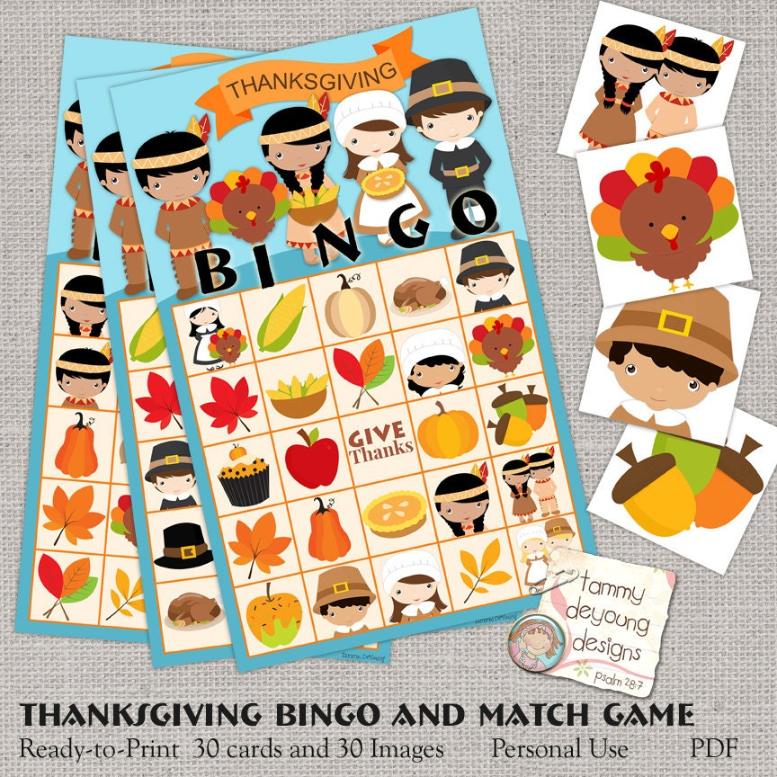 This is a picture of Adaptable Thanksgiving Bingo Cards Printable
