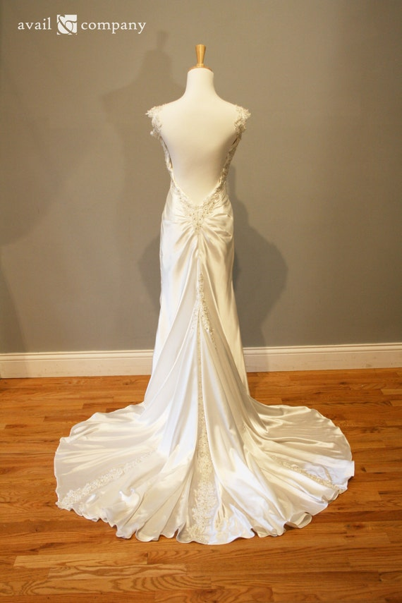 Smooth satin sexy low back wedding dress natalie style for Wedding dress undergarments low back