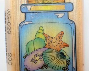 Jar of Seashells Ocean Nautical Combined Resourses Intl.  Wooden Rubber Stamp
