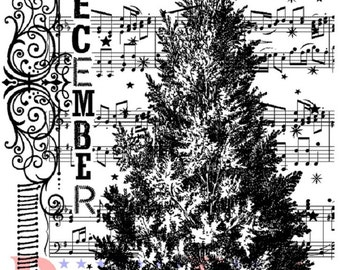 Deep Red Rubber Stamp December Tree