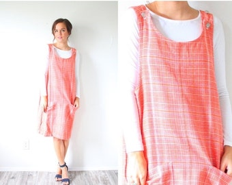 30% OFF out of town SALE Vintage boho striped orange jumper dress // striped overall dress // orange overall dress // orange dress / boho su