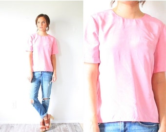 30% OFF out of town SALE Vintage light pink oversized blouse // Boho bubblegum pink blouse // slouchy top // slouch shirt // boxy top // pin