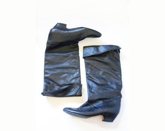 30% OFF out of town SALE Vintage black boots // black healed boots // mid calf boots // size 6 black boots // calf boots // tall black boots