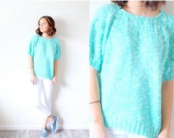 20% OFF VALENTINES SALE Vintage Boho // light blue teal short sleeve sweater // small sweater // summer sweater // modest top // short sleev
