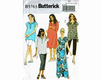 Maternity Wardrobe Top and dress maxi dresses and Pants Uncut Sewing Pattern Butterick 5763 Sizes 8 10 12 14 16