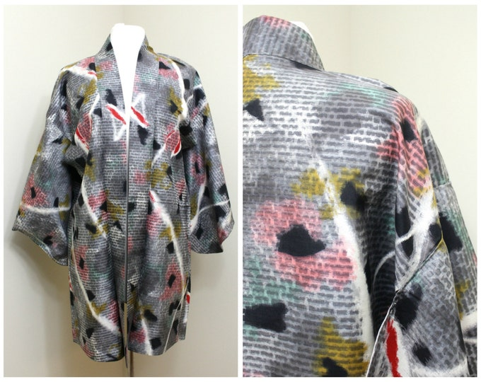 Japanese Haori Jacket. Vintage Silk Coat Worn Over Kimono. Fantastic 1980s Kitsch Design (Ref: 1202)