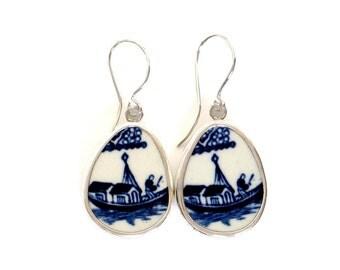 Broken China Jewelry Blue Willow Boat Sterling Drop Earrings