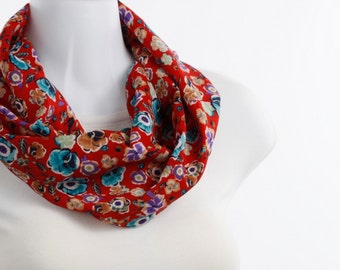 Short Floral INFINITY scarf Red and Aqua Pansies ~ SK216-S5