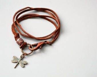 DRAGONFLY Leather Wrap Bracelet Brown Suede Leather Verdigris Brass Dragonfly Charm