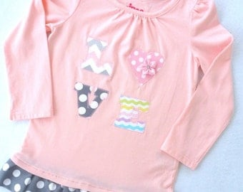 Toddler Shirt with Ruffle and Love applique