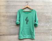 Desert Girl Sweater, Cactus Shirt, Green Sweater, Yoga Top, S,M,L,XL